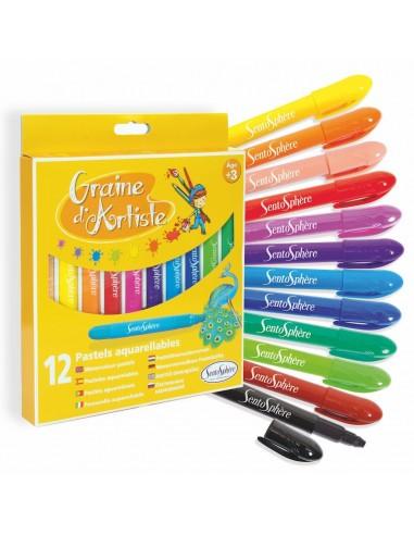 12 ceras de diferentes colores...