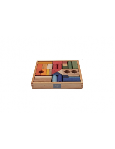 Set de 30 bloques de madera arcoíris...