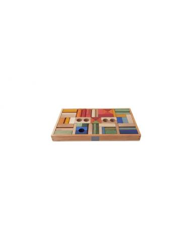Set de 54 bloques de madera arcoíris...