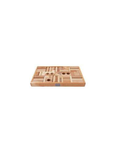 Set de 54 bloques de madera naturales...
