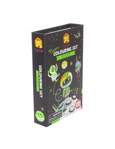 Set de colorear con neones Espacio...
