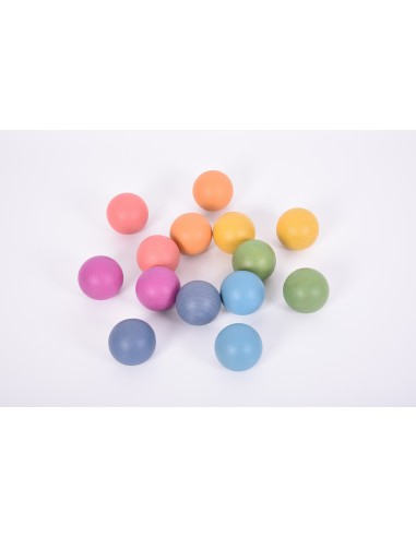 Esferas de madera arcoíris