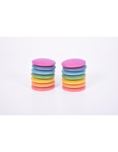 Discos de madera arcoíris