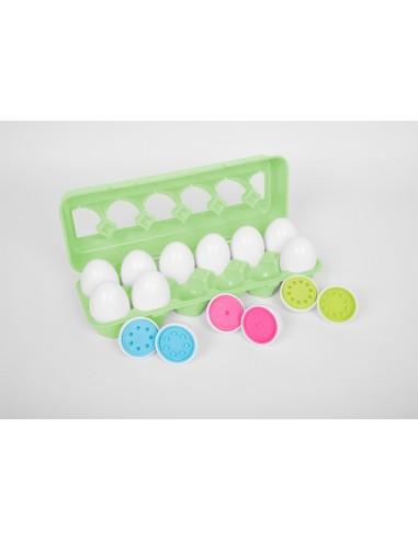 Huevera con 12 huevos de colores con...