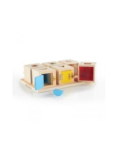 Set de 6 cajas de cerraduras y formas...