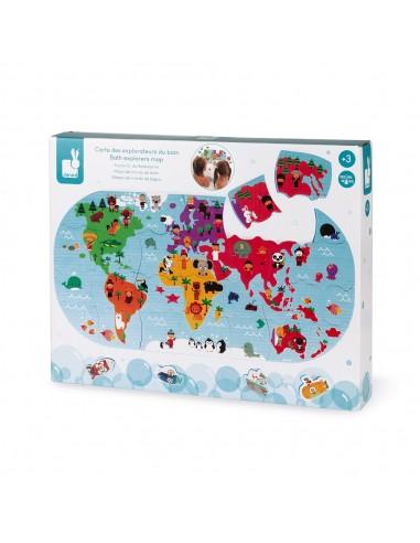 Puzle de baño Mapa del mundo, de 28...