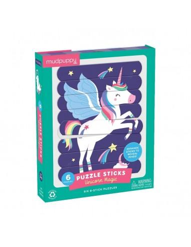 Set de 6 puzles Unicornios, de 8 sticks