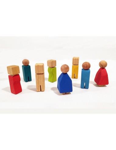 Muñecos de madera, familia de 8 nanis