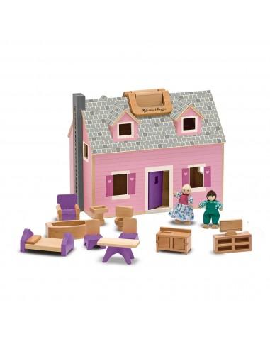 Casita de muñecas de madera con...