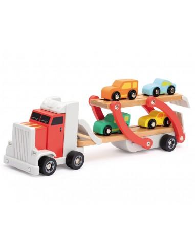 Camión portacoches de madera