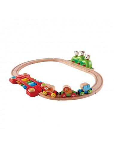 Circuito de tren de madera con música...