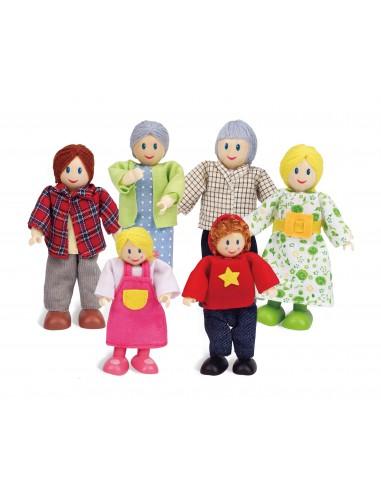 Familia de muñecos de madera