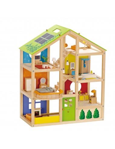 Casita de muñecas de madera con muebles