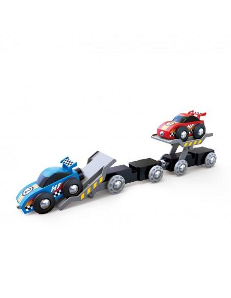 Tren de transporte de coches de carrera