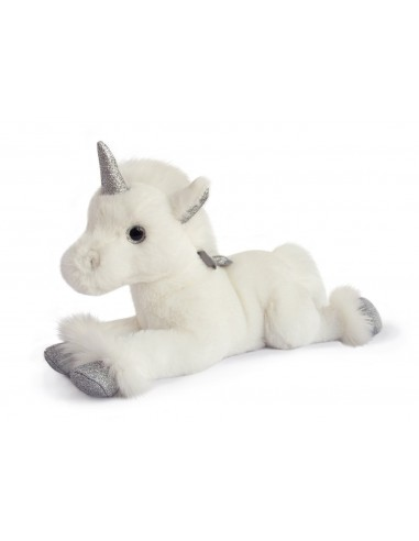 Unicornio plateado de 35 cm